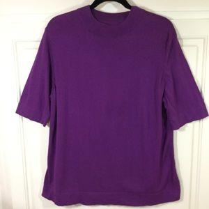 Liz Claiborne Purple Crew Neck SS Sweater EUC 2X